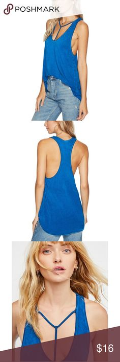 "EUC!! Free people Amelia y-strap tank in cobalt M Worn once, free people Amelia y-strap tank top in cobalt blue. Sz M, measurements 16"" pit to pit, shoulder to pit 12"", shoulder to bottom 28"" Free People Tops Tank Tops"