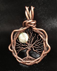 Full Moon Copper Tree of Life Wire Wrapped Necklace, oxidized copper Tree of…