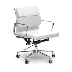 Eames Style EA217 Low Back Soft Pad Leather Office Chair - White