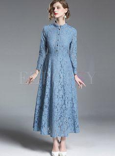 Solid Color Long Sleeve Hollow Out Lace Maxi Dress Ezpopsycom - Fashion Dress Brokat, Kebaya Dress, Beautiful Dresses, Nice Dresses, Maxi Dresses, Dress Vestidos, Party Dresses, Mode Abaya, Short Beach Dresses