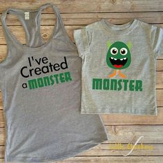 I've Created A Monster Set mommy and me mommy and me outfit Matching mommy Mommy and me shirts Mommy and son Mommy and daughter Mommy And Son, Mommy And Me Shirt, Mommy And Me Outfits, Baby Boy Outfits, Children Outfits, Baby Girls, Mom Baby, Monster Birthday Parties, Monster Party