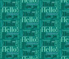 Green Hello Multilingual fabric by hazeljae on Spoonflower - custom fabric