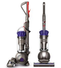 Front view of Dyson DC66 Animal upright vacuum cleaner. Iron colour with purple cyclone pack.