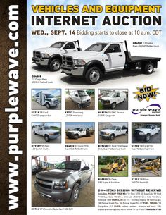 Vehicles and Equipment Auction September 14, 2016 http://purplewave.com/a/160914A