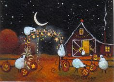 """Halloween Party Tonight!"" original folk art ACEO painting by Deborah Gregg #sheep #halloween"