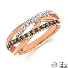 Intertwining Multi-Row Ring with White and Chocolate Diamond Accents