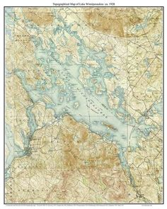 Lake Winnipesaukee Meredith to Wolfeboro 1928 Custom USGS Old