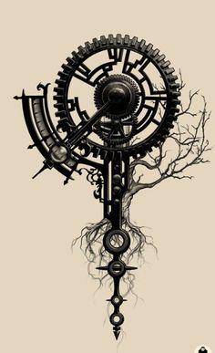 Mechanized Tree of Life . Mechanized Tree of Life Life Tattoos, New Tattoos, Body Art Tattoos, Sleeve Tattoos, Cool Tattoos, Tattoo Drawings, Trendy Tattoos, Unique Tattoos, Beautiful Tattoos