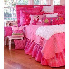 Mermaid Diva Girls Hot Pink Velvet Quilt