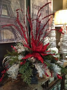 Christmas floral arrangement and centerpiece ideas. by aileen Christmas floral arrangement and centerpiece ideas. by aileen Christmas Urns, Christmas Planters, Christmas Flowers, Christmas Table Decorations, Christmas Projects, Christmas Time, Elegant Christmas Centerpieces, Floral Decorations, Christmas Tables