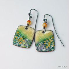 Blooming Meadow Copper Enamel Earrings Dangles by WillOaksStudio