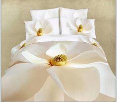 3D white lily duvet