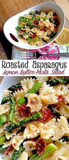 Roasted Asparagus Lemon Butter Pasta Salad
