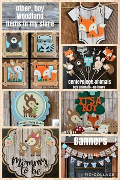 Your place to buy and sell all things handmade - woodland critters animal baby shower banner fox banner deer image 4 - Woodland Critters, Woodland Baby, Woodland Theme, Woodland Animals, Woodland Nursery, Shower Banners, Baby Banners, Paper Banners, Baby Shower Decorations For Boys
