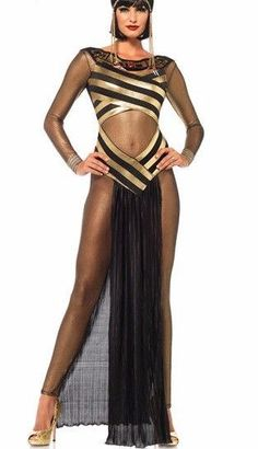 GOLDEN EGYPTIAN GODDESS NWT S M Catsuit Black Cutouts Isis Queen Cleopatra #LegAvenue #CompleteOutfit
