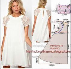 Ideas For Sewing Diy Dress Simple Diy Clothing, Sewing Clothes, Dress Sewing Patterns, Clothing Patterns, Pattern Sewing, Diy Fashion, Ideias Fashion, Fashion Design, Dress Fashion