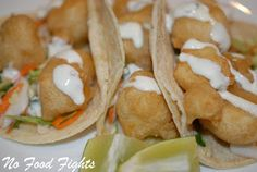 Fish Tacos with Cabbage Slaw and Cilantro Lime Sauce