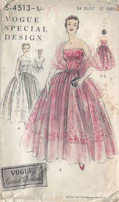 1954 Vintage VOGUE Sewing Pattern B34 EVENING/BRIDAL DRESS & STOLE (1074)
