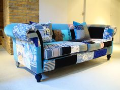Seating For Small Living Room Denim Furniture, Funky Furniture, Recycled Furniture, Art Furniture, Patchwork Chair, Patchwork Ideas, Upholstered Chairs, Modern Interior Design, Decoration