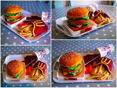 McDonald's burger cake and video https://youtu.be/2gAxilbHejE