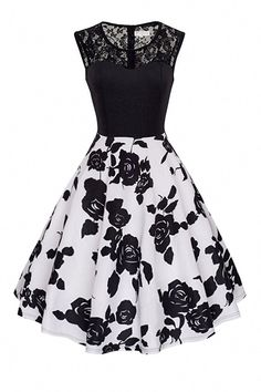 Women Lace Patchwork Casual Dress Floral/Polka Dot Printed Summer Sleeveless A L. - Women Lace Patchwork Casual Dress Floral/Polka Dot Printed Summer Sleeveless A Line Party Dress black+black floral Source by reikakazue - Cute Prom Dresses, Dance Dresses, Elegant Dresses, Pretty Dresses, Vintage Dresses, Beautiful Dresses, Casual Dresses, Fashion Dresses, Winter Dresses
