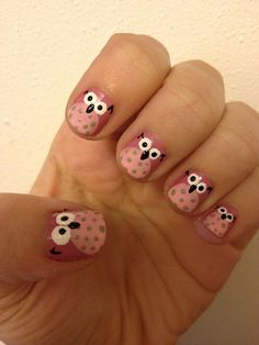 The Best Nail Art Designs – Your Beautiful Nails Owl Nail Art, Owl Nails, Minion Nails, Funky Nail Art, Funky Nails, Owl Nail Designs, Best Nail Art Designs, Nail Designs For Kids, Little Girl Nails