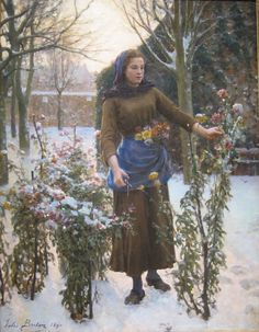 Jules Breton (French, 1827-1906). Last Flowers. 1890. Oil on canvas.