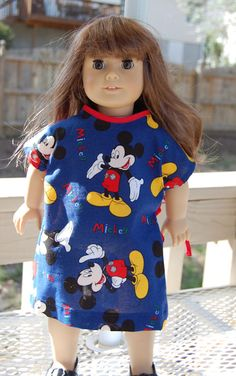 "18"" American girl doll hospital gown  easy for little one to take on and off"