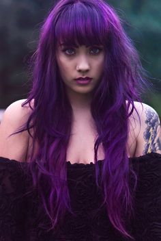 Long purple hair with bangs @fabicferreiraI keep saying I am going to go purple I think its hard to do on really long hair