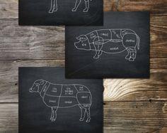 Butcher Shop Butcher cuts Meat Cuts Large Kitchen Print by evivart