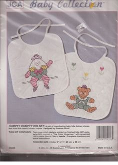Humpty Dumpty Quilted Bibs Stamped Cross Stitch Kit 9 in x 11 in Set Of 2 #JCA