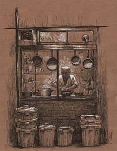 Kris's playground - Art by Christine Deschamps Pencil Art Drawings, Art Sketches, Architecture Drawing Art, Paper Architecture, Nature Sketch, Toned Paper, Paper Drawing, Pen Art, Art Sketchbook