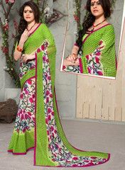 Green Color Georgette Casual Party Sarees : Swagatika Collection  YF-41196