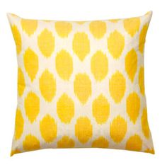 yellow spotted silk pillow from furbish
