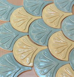 Moroccan Fish Scale tile, 1 square foot 12 tile mixed celadon and yellow, handmade relief tile, for fireplace, kitchen or bath Geometric Tiles, Geometric Shapes, Mermaid Tile, Fish Scale Tile, Coffee Coasters, Dragon Scale, House Tiles, Fish Scales, Moorish