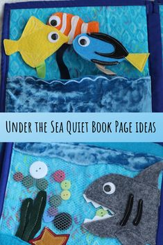 Under the Sea Quiet Book Page Ideas - Sew Much to Create. How to make a Quiet Book with the theme of Under the Sea. Six Quiet Book page ideas included. Diy Busy Books, Diy Quiet Books, Baby Quiet Book, Felt Quiet Books, Books For Boys, Quiet Book Templates, Quiet Book Patterns, Sensory Book, Under The Sea Theme