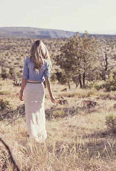 Fabulous lace maxi skirt, chambray shirt. cute fall outfit!!!