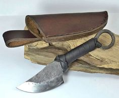 QUINN forged Celtic knife with sheath