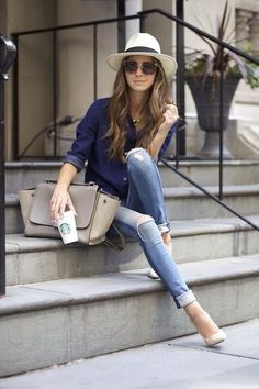 Jeans, fedora, Celine.