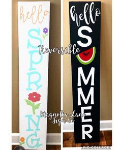 Spring porch sign, reversible spring porch sign, reversible porch sign, hello summer porch sign, hello spring porch sign – My CMS Pallet Crafts, Wood Crafts, Diy Crafts, Front Porch Signs, Front Porches, Summer Signs, Holiday Signs, Christmas Signs, Spring Sign