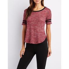 Charlotte Russe Hacci Varsity Stripe Ringer Tee ($9.59) ❤ liked on Polyvore featuring tops, t-shirts, burgundy, red tee, red crew neck t shirt, crew neck tee, curved hem tee and sporty t shirt