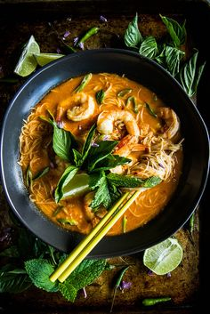 Food Photography: Don't let it its name fool you, this Red Curry Coconut Shrimp Laksa is an easy dish that can be prepared in no time. Seafood Recipes, Soup Recipes, Cooking Recipes, Cooking Food, Curry Recipes, Potato Recipes, Drink Recipes, Dinner Recipes, Think Food