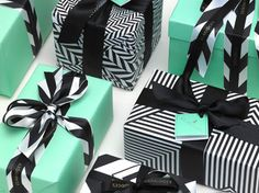black, white and tiffany blue gift wrap diy