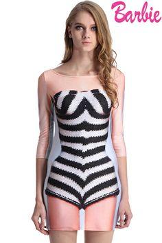 ROMWE | ROMWE Classic Barbie Model Print Dress, The Latest Street Fashion