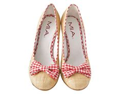 Raffia pumps w/ red gingham bows-I'm a sucker for red gingham!