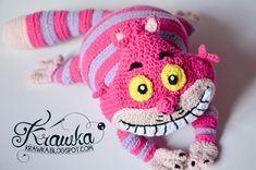 Crochet PATTERN - Pink cat pattern by Krawka, Alice in Wonderland, Lewis Carroll, crazy, pink, mad hatter, rabbit hole