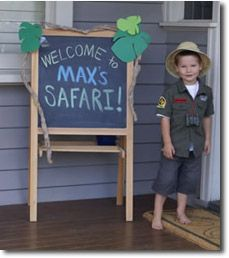 Sign with paper bag vines around it.  Link to the coolest-kid-parties safari page.