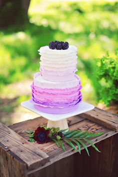 purple ombre cake, photo by Arina B Photography http://ruffledblog.com/purple-inspired-wedding-ideas #weddingcake #cakes #ruffled