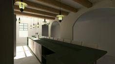 Door 3 ruimtes met elkaar te   verbinden krijg een prachtige ruimte om een bar te creëren voor het #restaurant
