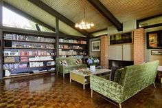 Aziz Ansari Buys Handsome Hong House in Los Feliz Estates - Celebrity Real Estate - Curbed LA Post And Beam, Celebrity Houses, Interior And Exterior, Liquor Cabinet, Mid-century Modern, Handsome, Real Estate, House Design, Flooring